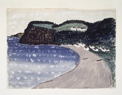 Milton Avery (American, 1885-1965). <em>Cottage in Cove</em>. Opaque and transparent watercolor on paper, Sheet: 22 1/2 x 30 1/2 in. (57.2 x 77.5 cm). Brooklyn Museum, Bequest of Ivor Green and Augusta Green, 1992.271.7. © artist or artist's estate (Photo: Brooklyn Museum, 1992.271.7_transp494.jpg)