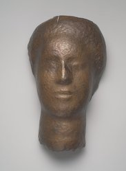 Saul Baizerman (American, 1889-1957). <em>Mask</em>, ca. 1940s. Hammered copper, 14 x 8 1/2 x 6 1/4 in. (35.6 x 21.6 x 15.9 cm). Brooklyn Museum, Gift of Irene Worth in honor of Joan Hay Baizerman, 1992.52.1. © artist or artist's estate (Photo: Brooklyn Museum, 1992.52.1.jpg)