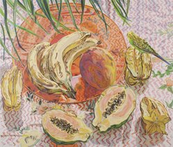 Janet Fish (American, born 1938). <em>Tropical Still Life</em>, 1992. Screenprint on Arches 88 paper, Sheet: 72 1/8 x 46 5/16 in. (183.2 x 117.7 cm). Brooklyn Museum, Gift of John Szoke Gallery, 1993.10.1. © artist or artist's estate (Photo: Brooklyn Museum, 1993.10.1.jpg)