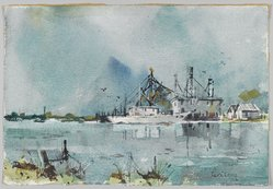 Edgar A. Whitney (1894-1987). <em>Louisiana Bayou</em>, ca. 1955(?). Watercolor and charcoal on wove paper, 14 7/8 x 21 3/4 in. (irreg.). Brooklyn Museum, Gift of Robert E. Blum, 1993.119.1. © artist or artist's estate (Photo: Brooklyn Museum, 1993.119.1_PS2.jpg)
