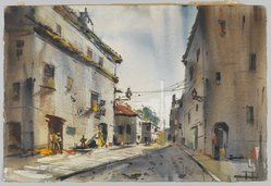 Edgar A. Whitney (1894-1987). <em>Buildings in Abufeira, Portugal</em>, ca. 1955(?). Watercolor and graphite on wove paper, 15 x 22 1/2 in. (irreg.). Brooklyn Museum, Gift of Robert E. Blum, 1993.119.2. © artist or artist's estate (Photo: Brooklyn Museum, 1993.119.2_PS2.jpg)