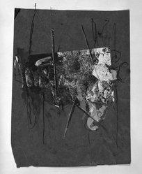 Yaacov Hefetz (Israeli, born 1928). <em>Border Drawing</em>, 1980s. Charcoal, paint, and photograph on paper, sheet: 8 5/8 x 11 3/8 in. (21.9 x 28.9 cm). Brooklyn Museum, Gift of Samuel B. Bacharach, 1993.127.1. © artist or artist's estate (Photo: Brooklyn Museum, 1993.127.1_bw.jpg)