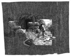 Yaacov Hefetz (Israeli, born 1928). <em>Border Drawing</em>, 1980s. Charcoal, paint, and photograph on paper, sheet: 10 3/4 x 13 1/4 in. (27.3 x 33.7 cm). Brooklyn Museum, Gift of Samuel B. Bacharach, 1993.127.2. © artist or artist's estate (Photo: Brooklyn Museum, 1993.127.2_bw.jpg)