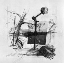 Yaacov Hefetz (Israeli, born 1928). <em>Border Drawing</em>, 1980s. Charcoal, paint, and photograph on wove paper, sheet: 10 x 9 in. (25.4 x 22.9 cm). Brooklyn Museum, Gift of Samuel B. Bacharach, 1993.127.3. © artist or artist's estate (Photo: Brooklyn Museum, 1993.127.3_bw.jpg)