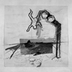 Yaacov Hefetz (Israeli, born 1928). <em>Border Drawing</em>, 1980s. Charcoal, photograph, graphite, and paint on paper, sheet: 10 7/8 x 11 1/4 in. (27.6 x 28.6 cm). Brooklyn Museum, Gift of Samuel B. Bacharach, 1993.127.6. © artist or artist's estate (Photo: Brooklyn Museum, 1993.127.6_bw.jpg)