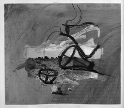 Yaacov Hefetz (Israeli, born 1928). <em>Border Drawing</em>, 1980s. Paint, photograph, charcoal, and graphite on paper, sheet: 9 3/4 x 11 1/4 in. (24.8 x 28.6 cm). Brooklyn Museum, Gift of Samuel B. Bacharach, 1993.127.9. © artist or artist's estate (Photo: Brooklyn Museum, 1993.127.9_bw.jpg)