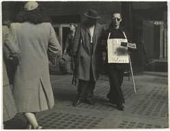 George Gilbert (American, born 1922). <em>The Veteran's Return, Pennsylvania Station</em>, 1946. Gelatin silver photograph, 10 1/2 x 13 1/2 in. (26.7 x 34.3 cm). Brooklyn Museum, Gift of the artist, 1993.131.2. © artist or artist's estate (Photo: Brooklyn Museum, 1993.131.2_PS1.jpg)