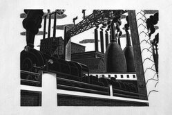 Salvatore Pinto (American, 1905-1966). <em>Locomotive</em>, ca. 1935. Wood engraving on laid paper, Image: 6 15/16 x 9 7/8 in. (17.6 x 25.1 cm). Brooklyn Museum, Emily Winthrop Miles Fund, 1993.133.1. © artist or artist's estate (Photo: Brooklyn Museum, 1993.133.1_bw.jpg)