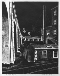 Salvatore Pinto (American, 1905-1966). <em>Powerhouse</em>, ca. 1941. Wood engraving on laid paper, Image: 8 7/8 x 6 3/4 in. (22.5 x 17.2 cm). Brooklyn Museum, Emily Winthrop Miles Fund, 1993.133.2. © artist or artist's estate (Photo: Brooklyn Museum, 1993.133.2_bw.jpg)