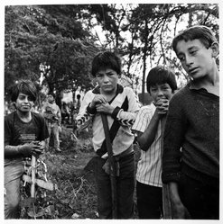 Bastienne Schmidt. <em>Patzcuaro, Mexico, Children Working in Cemetery from the Vivir la Muerte, Death and Rituals in South America Series</em>. Gelatin silver photograph on photographic paper Brooklyn Museum, Gift of the artist, 1993.15.1. © artist or artist's estate (Photo: Brooklyn Museum, 1993.15.1_bw.jpg)