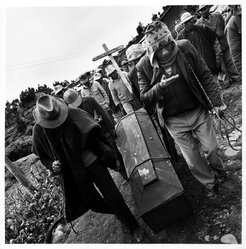 Bastienne Schmidt. <em>Peru, Lake Titicaca, Indian Funeral, from the Vivir la Muerte, Death andRituals in South American Series</em>. Gelatin silver photograph on photographic paper Brooklyn Museum, Gift of the artist, 1993.15.2. © artist or artist's estate (Photo: Brooklyn Museum, 1993.15.2_bw.jpg)