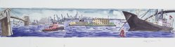 Red Grooms (American, born 1937). <em>Design for Staten Island Ferry</em>, 1992. Watercolor and graphite on paper, 9 7/8 x 29 3/4 in. (25.1 x 75.6 cm). Brooklyn Museum, Purchased with funds given by Mrs. James H. Hunter, 1993.17.2. © artist or artist's estate (Photo: Brooklyn Museum, 1993.17.2_transpc002.jpg)