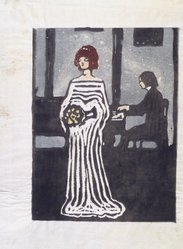 Vasily Kandinsky (Russian, 1866-1944). <em>Sangerin (The Singer)</em>, 1903. Color woodcut on laid paper, 7 5/8 x 5 3/4 in. (19.5 x 14.5 cm). Brooklyn Museum, Gift of the Benjamin family in memory of Robert S. Benjamin, 1993.217.1. © artist or artist's estate (Photo: Brooklyn Museum, 1993.217.1_transpc001.jpg)