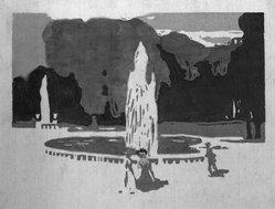 Vasily Kandinsky (Russian, 1866-1944). <em>Parc St. Cloud</em>, 1904. Color woodcut on Japan paper, 7 3/8 x 9 3/8 in. (18.9 x 23.9 cm). Brooklyn Museum, Gift of the Benjamin family in memory of Robert S. Benjamin, 1993.217.2. © artist or artist's estate (Photo: Brooklyn Museum, 1993.217.2_bw.jpg)