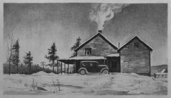 John C. Menihan (American, 1908-1992). <em>Leon's House</em>, ca. 1936. Lithograph on thin laid paper, Image: 4 7/8 x 8 11/16 in. (12.4 x 22.1 cm). Brooklyn Museum, Gift of the family of John C. Menihan, 1993.223.1. © artist or artist's estate (Photo: Brooklyn Museum, 1993.223.1_bw.jpg)