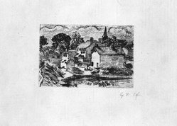 George F. Of (American, 1876-1954). <em>Untitled</em>, n.d. Etching on paper, sheet: 5 5/8 x 8 in. (14.3 x 20.3 cm). Brooklyn Museum, Gift of Dr. Clark S. Marlor, 1993.38.2. © artist or artist's estate (Photo: Brooklyn Museum, 1993.38.2_bw.jpg)