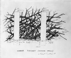 Robert Smithson (American, 1938-1973). <em>Mirror Thicket (Outdoor Version)</em>, 1969. Colored pencil and ink on paper, 14 x 17 in. (35.6 x 43.2 cm). Brooklyn Museum, Gift of Sarah-Ann and Werner H. Kramarsky, 1993.41. © artist or artist's estate (Photo: Brooklyn Museum, 1993.41_bw.jpg)