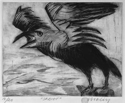 Brita Molin (Swedish, 1919-2008). <em>Scream</em>, 1988. Etching and drypoint on thick wove Hahnemuhle paper, 9 x 11 1/4 in. (22.9 x 28.6 cm). Brooklyn Museum, Gift of Dr. Carl Molin, 1993.84. © artist or artist's estate (Photo: Brooklyn Museum, 1993.84_bw.jpg)