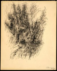 Jean René Bazaine (French, 1904-2001). <em>Untitled</em>, 1958. Ink on paper, 16 x 13 in. (40.6 x 33 cm). Brooklyn Museum, Gift of Alexander Liberman, 1994.219. © artist or artist's estate (Photo: Brooklyn Museum, 1994.219.jpg)
