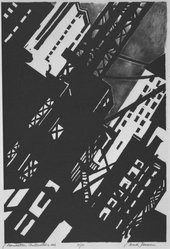 Mark Freeman (American, 1908-1975). <em>Manhattan Construction</em>, 1936. Lithograph, Sheet: 19 15/16 x 14 1/2 in. (50.6 x 36.8 cm). Brooklyn Museum, Emily Winthrop Miles Fund, 1994.24. © artist or artist's estate (Photo: Brooklyn Museum, 1994.24_bw.jpg)