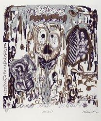 Victor Estrada (American, born 1956). <em>Unidos</em>, 1993. Color lithograph, Sheet: 17 1/2 x 15 1/8 in. (44.5 x 38.4 cm). Brooklyn Museum, Emily Winthrop Miles Fund, 1994.25.2. © artist or artist's estate (Photo: Brooklyn Museum, 1994.25.2_PS4.jpg)
