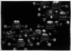 Carleen Sheehan (American, born 1962). <em>Neptune</em>, 1993. Black chalk on paper, 29 x 41 in. (73.5 x 104.2 cm). Brooklyn Museum, Purchased with funds given by Anne M. McLain and Robert J. McLain, 1994.7. © artist or artist's estate (Photo: Brooklyn Museum, 1994.7_bw.jpg)