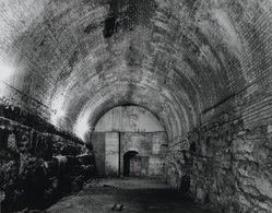 Stanley Greenberg (American, born 1956). <em>Former Wine Cellar, Brooklyn Bridge</em>, 1992. Gelatin silver photograph, image: 10 1/2 x 13 1/2 in. (26.7 x 34.3 cm). Brooklyn Museum, Gift of the artist, 1994.86. © artist or artist's estate (Photo: Brooklyn Museum, 1994.86_PS1.jpg)