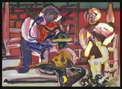 Romare Bearden (American, 1911-1988). <em>Louisiana Serenade</em>, 1979. Lithograph on cream wove paper, 24 3/8 x 33 7/8 in.  (61.9 x 86.0 cm). Brooklyn Museum, Gift of Eugene Schuster on behalf of Dynasen Galleries, New York, 1995.120. © artist or artist's estate (Photo: Brooklyn Museum, 1995.120_SL1.jpg)