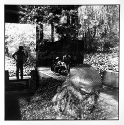 Bruce Cratsley (American, 1944-1998). <em>Garden Reflections, Brooklyn Museum</em>, 1985. Gelatin silver photograph, image/sheet: 8 7/8 x 8 7/8 in. (22.5 x 22.5 cm). Brooklyn Museum, Gift of Billy Leight, 1995.129. © artist or artist's estate (Photo: Brooklyn Museum, 1995.129_bw.jpg)