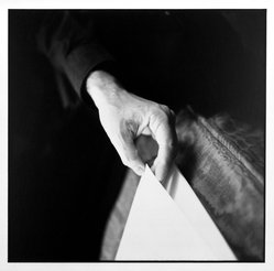 Bruce Cratsley (American, 1944-1998). <em>Hand of Tom Brazil</em>, 1989. Gelatin silver photograph, image/sheet: 9 1/4 x 9 1/2 in. (23.5 x 24.1 cm). Brooklyn Museum, Gift of Mr. and Mrs. Gilbert Millstein, 1995.131.1. © artist or artist's estate (Photo: Brooklyn Museum, 1995.131.1_bw.jpg)