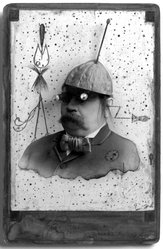 Gary Brotmeyer (American, born 1946). <em>Soyuz II, (High on the Yuck Meter)</em>, 1985. Mixed media on gelatin silver photograph with wash and ink, image/sheet: 6 1/2 x 4 1/2 in. (16.5 x 11.4 cm). Brooklyn Museum, Gift of Eileen and Michael Cohen, 1995.204.3. © artist or artist's estate (Photo: Brooklyn Museum, 1995.204.3_bw.jpg)
