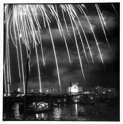 Bruce Cratsley (American, 1944-1998). <em>Venice Fireworks</em>, 1982. Selenium-toned gelatin silver photograph, image: 9 1/2 x 9 1/4 in. (24.1 x 23.5 cm). Brooklyn Museum, Gift of the artist, 1995.205.1. © artist or artist's estate (Photo: Brooklyn Museum, 1995.205.1_bw.jpg)