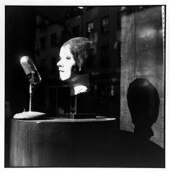 Bruce Cratsley (American, 1944-1998). <em>Radio Days (Spring Street, Soho, N.Y.C.)</em>, 1991. Selenium-toned gelatin silver photograph, image: 9 1/2 x 9 1/4 in. (24.1 x 23.5 cm). Brooklyn Museum, Gift of Jonathan L. Fagin, 1995.207.12. © artist or artist's estate (Photo: Brooklyn Museum, 1995.207.12_bw.jpg)