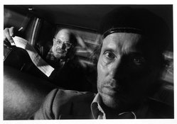 Ryan Weideman. <em>Self Portrait with Passenger, Allen Ginsberg</em>, 1991. Gelatin silver photograph, sheet: 11 x 14 in. Brooklyn Museum, Purchased with funds given by the Horace W. Goldsmith Foundation, Harry Kahn, Mrs. Carl L. Selden, and an anonymous donor, 1995.43. © artist or artist's estate (Photo: Brooklyn Museum, 1995.43_bw.jpg)