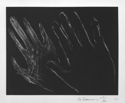 Bruce Nauman (American, born 1941). <em>Untitled (Hands)</em>, 1990-1991. Drypoint with aquatint on paper, sheet: 16 11/16 x 19 3/8 in. (42.4 x 49.2 cm). Brooklyn Museum, Alfred T. White Fund, 1995.65.1. © artist or artist's estate (Photo: Brooklyn Museum, 1995.65.1_bw.jpg)