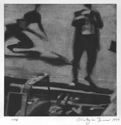 Christopher Brown (American, born 1951). <em>Runner</em>, 1994. Color soft ground etching on paper, Image: 10 x 10 in. (25.4 x 25.4 cm). Brooklyn Museum, Alfred T. White Fund, 1995.66.2. © artist or artist's estate (Photo: Brooklyn Museum, 1995.66.2_bw.jpg)