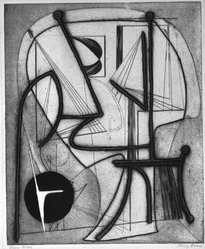 Terry Haass (Czech, born 1923). <em>Open Mind</em>, n.d. Etching and aquatint on wove paper, 16 5/8 x 13 11/16 in. (42.2 x 34.8 cm). Brooklyn Museum, Gift of Miriam Steinert, 1995.69.1. © artist or artist's estate (Photo: Brooklyn Museum, 1995.69.1_bw.jpg)