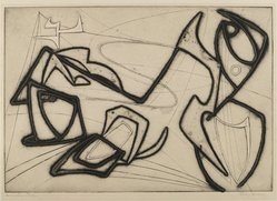 Terry Haass (Czech, born 1923). <em>Reconstruction</em>, n.d. Etching and aquatint on wove paper, 11 3/8 x 16 7/16 in. (28.9 x 41.8 cm). Brooklyn Museum, Gift of Miriam Steinert, 1995.69.3. © artist or artist's estate (Photo: Brooklyn Museum, 1995.69.3_PS4.jpg)
