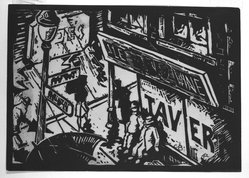 Calvin Burnett (American, born 1921). <em>Tavern</em>, 1942. Linocut on cream wove paper, Sheet (trimmed to block): 5 x 7 1/16 in. (12.7 x 17.9 cm). Brooklyn Museum, Emily Winthrop Miles Fund, 1996.14. © artist or artist's estate (Photo: Brooklyn Museum, 1996.14_bw.jpg)