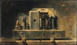 Walter Tandy Murch (American, born Canada, 1907-1967). <em>Radio</em>. Oil on canvas laid down on masonite, 13 3/4 x 23in. (34.9 x 58.4cm). Brooklyn Museum, Bequest of Mrs. Carl L. Selden, 1996.150.24. © artist or artist's estate (Photo: Brooklyn Museum, 1996.150.24_SL1.jpg)