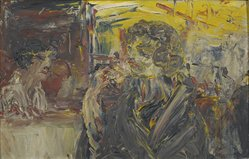 Jack B. Yeats. <em>Girl Eating Ice Cream at Woolworth's</em>. Oil on panel, 9 x 14 1/4 in. Brooklyn Museum, Bequest of Mrs. Carl L. Selden, 1996.150.28. © artist or artist's estate (Photo: Brooklyn Museum, 1996.150.28_PS2.jpg)