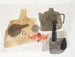 Julius Bissier (German, 1893-1965). <em>Composition</em>, 1960. Egg tempera on linen, 7 3/4 x 11 in. Brooklyn Museum, Bequest of Mrs. Carl L. Selden, 1996.150.8. © artist or artist's estate (Photo: Brooklyn Museum, 1996.150.8_transp5593.jpg)