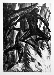 José Clemente Orozco (Mexican, 1883-1949). <em>The Hanged Men (Negros)</em>, 1930. Lithograph on cream wove paper, image: 12 3/4 x 8 15/16 in. (32.3 x 22.8 cm). Brooklyn Museum, Emily Winthrop Miles Fund, 1996.152.67. © artist or artist's estate (Photo: Brooklyn Museum, 1996.152.67_bw.jpg)