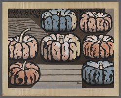 Tsuagaki (Japanese). <em>Pumpkins</em>, 1955. Woodcut, 13 1/2 x 17 1/2 in. (34.3 x 44.5cm). Brooklyn Museum, Bequest of Mrs. Carl L. Selden, 1996.157.19. © artist or artist's estate (Photo: Brooklyn Museum, 1996.157.19_IMLS_PS4.jpg)