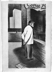 James Brooks (American, 1906-1992). <em>Interlude</em>, 1933. Lithograph on paper, image: 14 1/2 x 8 11/16 in. (36.8 x 22.1 cm). Brooklyn Museum, Alfred T. White Fund, 1996.15. © artist or artist's estate (Photo: Brooklyn Museum, 1996.15_bw.jpg)