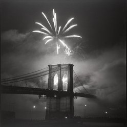 Bruce Cratsley (American, 1944-1998). <em>Brooklyn Bridge Centennial Fireworks</em>, May 1983. Gelatin silver photograph, image: 15 1/8 x 14 3/4 in. (38.4 x 37.5 cm). Brooklyn Museum, Gift of Billy Leight, 1996.167. © artist or artist's estate (Photo: Brooklyn Museum, 1996.167_PS2.jpg)