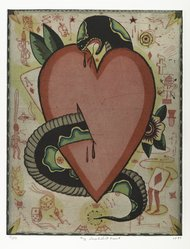 Tony Fitzpatrick (American, born 1958). <em>My Snakebit Heart</em>, 1993. Color etching with chine colle, Sheet: 17 3/8 x 14 7/8 in. (44.2 x 37.8 cm). Brooklyn Museum, Alfred T. White Fund, 1996.190. © artist or artist's estate (Photo: Brooklyn Museum, 1996.190_PS4.jpg)