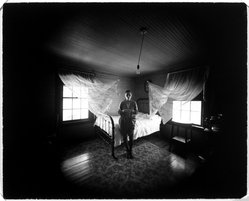 Emmett Gowin (American, born 1941). <em>Edith, Danville, Virginia (In Rennie's Guest Room-Curtains)</em>, 1970. Gelatin silver photograph, 8 x 10 in. (20.3 x 25.4 cm). Brooklyn Museum, Gift of David M. Saks and Aron Katz, by exchange, 1996.19. © artist or artist's estate (Photo: Brooklyn Museum, 1996.19_bw.jpg)