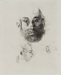 Jack Levine (American, 1915-2010). <em>Studies of Heads</em>, 1964. Etching, drypoint, and engraving, Image: 9 15/16 x 7 15/16 in. (25.2 x 20.2 cm). Brooklyn Museum, Gift of Peter R. Blum, 1996.223.10. © artist or artist's estate (Photo: Brooklyn Museum, 1996.223.10_PS4.jpg)
