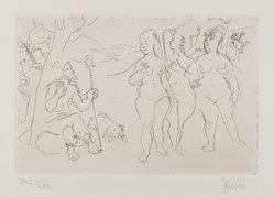 Jack Levine (American, 1915-2010). <em>Judgement of Paris</em>, 1964. Etching, Image: 5 7/8 x 8 7/8 in. (14.9 x 22.5 cm). Brooklyn Museum, Gift of Peter R. Blum, 1996.223.13. © artist or artist's estate (Photo: Brooklyn Museum, 1996.223.13_PS4.jpg)
